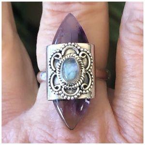 .925S Artisan Auralite 23/Rainbow Moonstone Ring